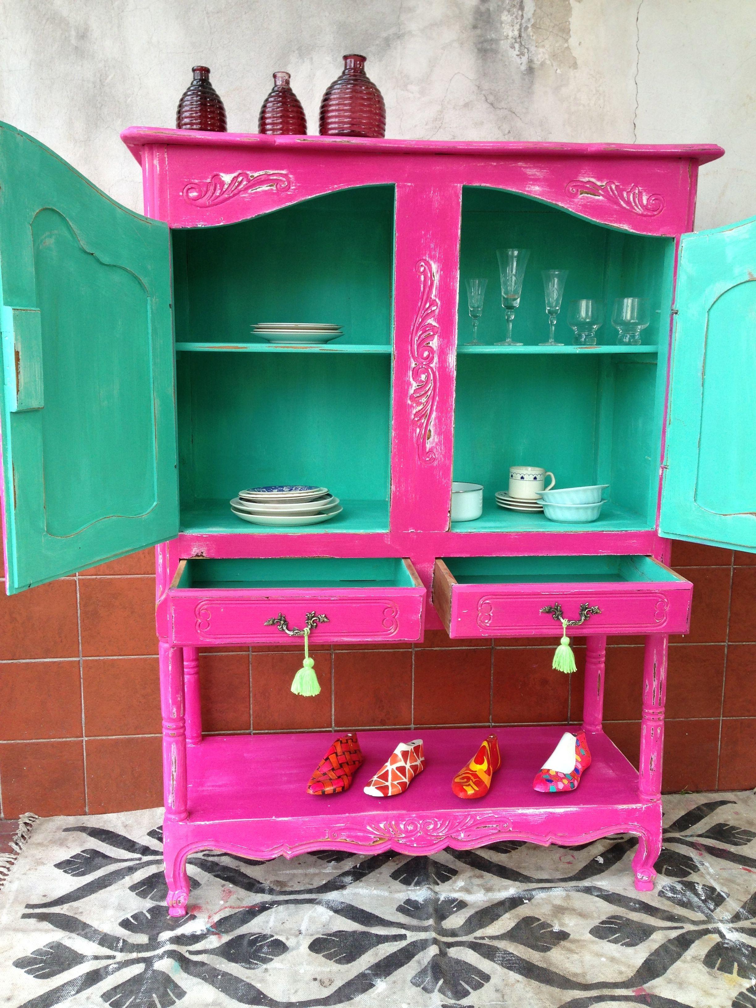 Provenzal Fucsia Y Acqua Decapado Muebles Vintouch De Colores  # Muebles Color Fucsia