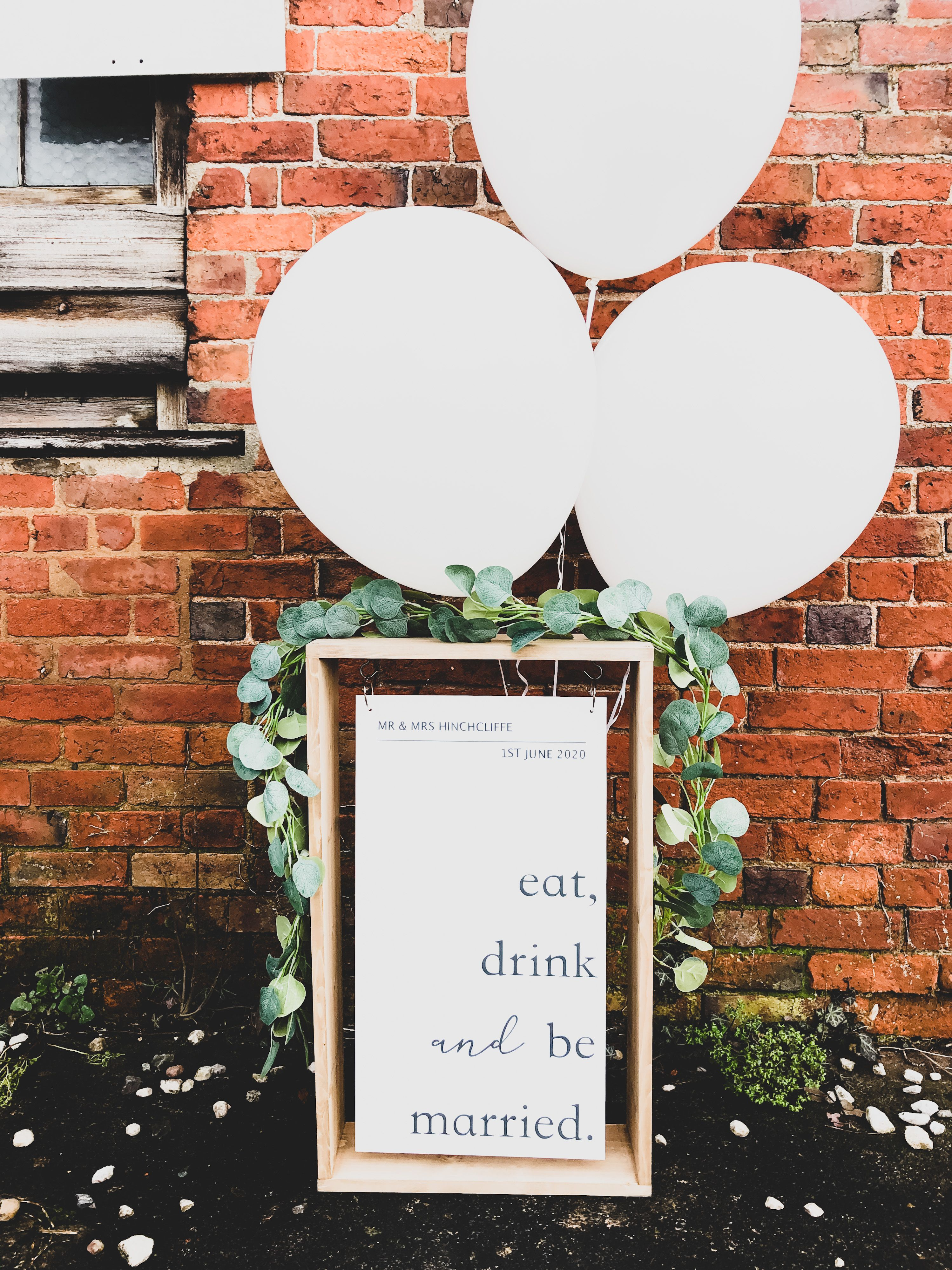 White Hanging Acrylic Wedding Sign With Wood Frame in 2020