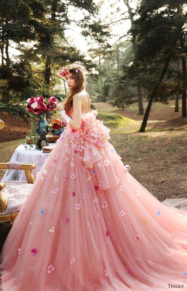 0ffac916cdea4 TIGLILY bridal 2016 strapless straightacross ball gown wedding dress (ann)  mv pink color romantic #bridal #wedding #weddingdress #weddinggown  #bridalgown ...