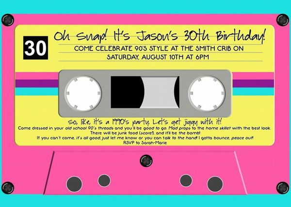 90sinspired cassette tape invitations My 90s Dirty Thirty Theme