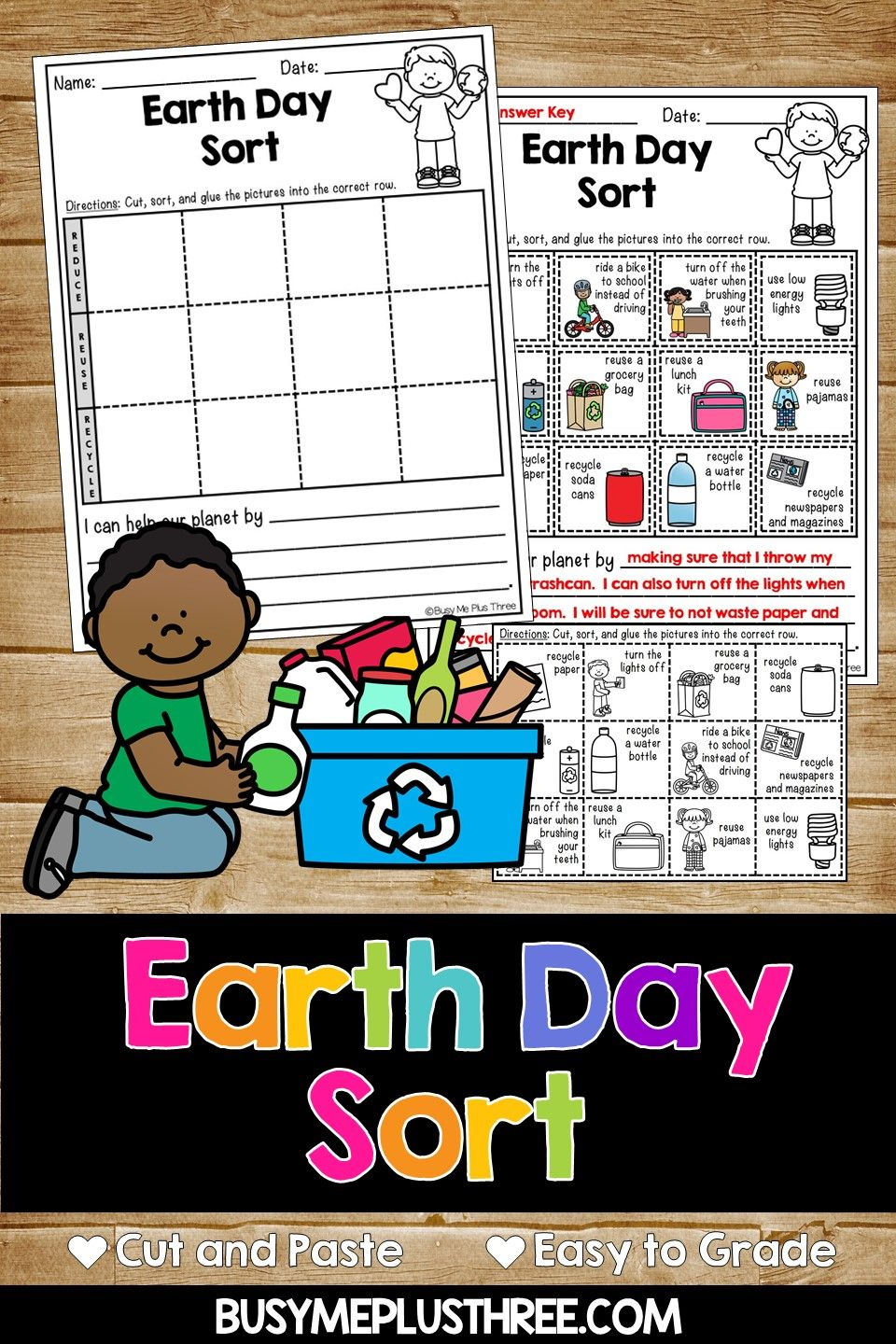 Earth Day Sort Distance Learning for Google Classroom™ Reduce [ 1440 x 960 Pixel ]