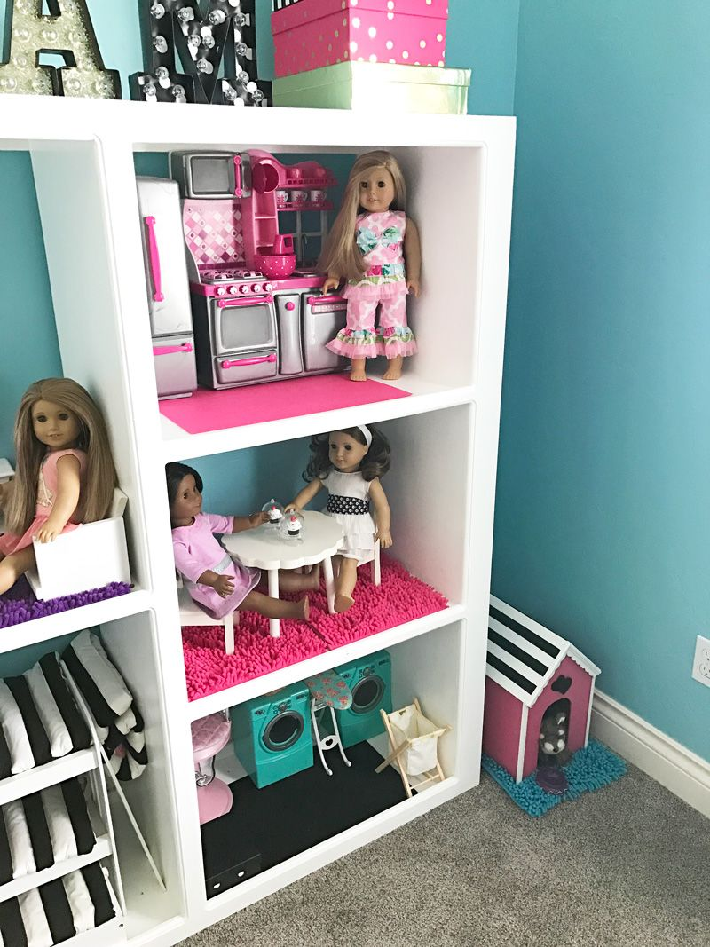 create adorable diy american girl doll rooms in a large doll house for 18inch dolls home. Black Bedroom Furniture Sets. Home Design Ideas