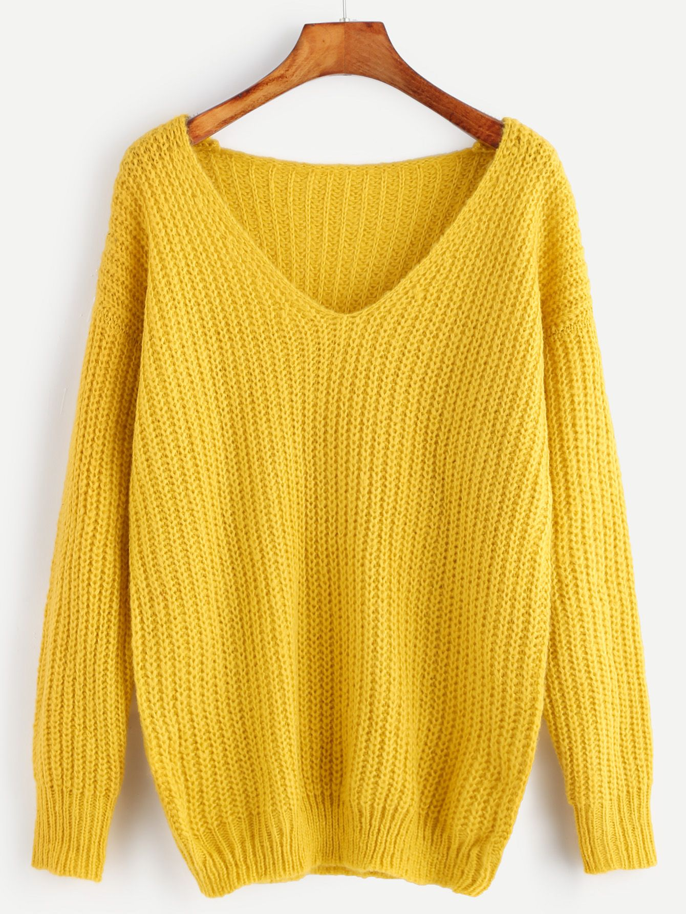 8b0db47387 Shop Yellow Ribbed Knit V Neck Drop Shoulder Sweater online. SheIn offers  Yellow Ribbed Knit V Neck Drop Shoulder Sweater & more to fit your  fashionable ...