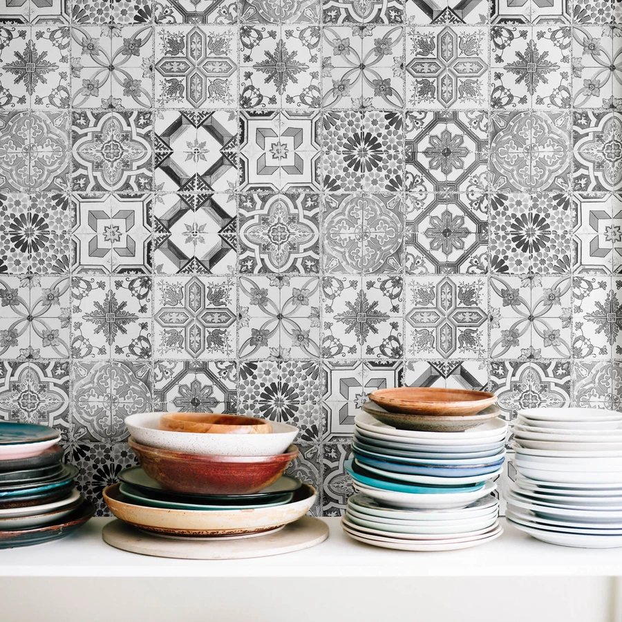 MONOCHROME TILE REMOVABLE WALLPAPER in 2020 Removable