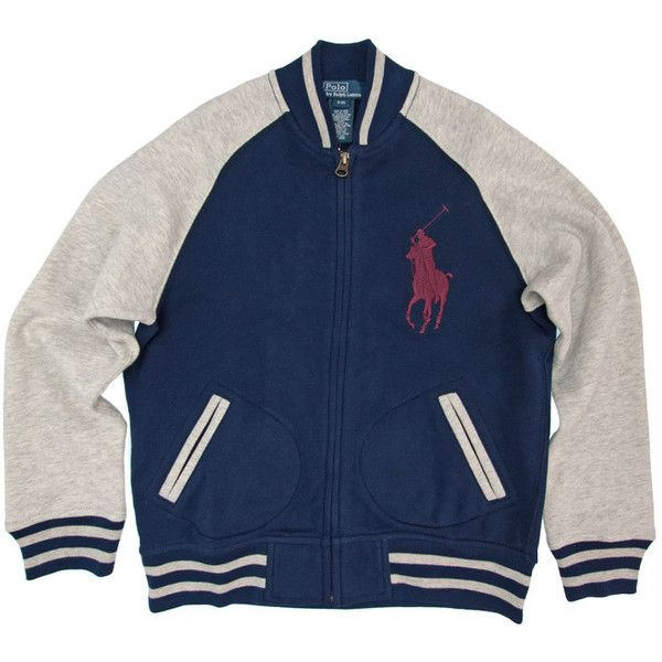 Ralph Lauren Baseball Jacket Navy/Grey ($135) ❤ liked on Polyvore featuring outerwear, jackets, baby and ralph lauren