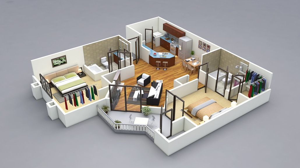 3D Two Bedroom House Plans Bedroom House Plans Designs 3D small - plan de maison 3d gratuit