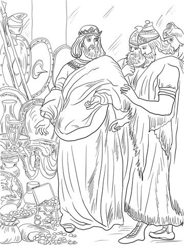 King Hezekiah Paid Tribute To Assyria Coloring Page From King