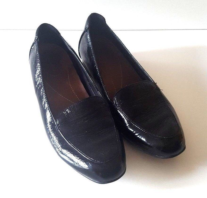 3332334898f CLARKS ARTISAN KEESHA LUCA BLACK PATENT LEATHER LOAFER SHOES SIZE UK 6 D