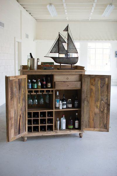 Reclaimed Wood Bar Cabinet   Industrial   Kitchen Islands And Kitchen Carts    Oilfield Slang/Stella Bleu Designs