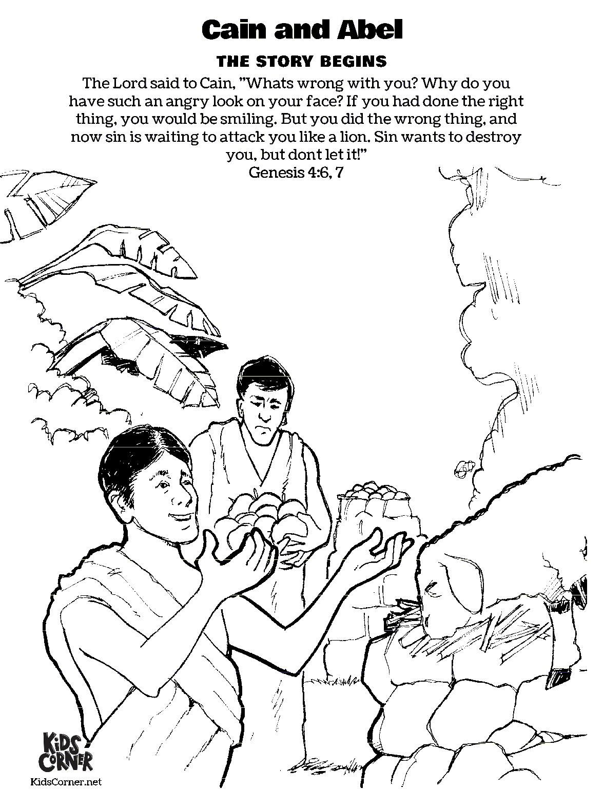 Free Bible Coloring Page Cain And Abel In