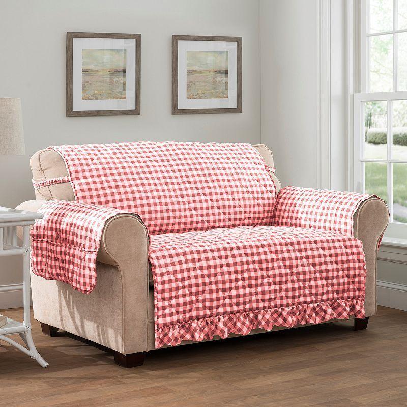 Innovative Textile Solutions Gingham Loveseat Slipcover, White ...