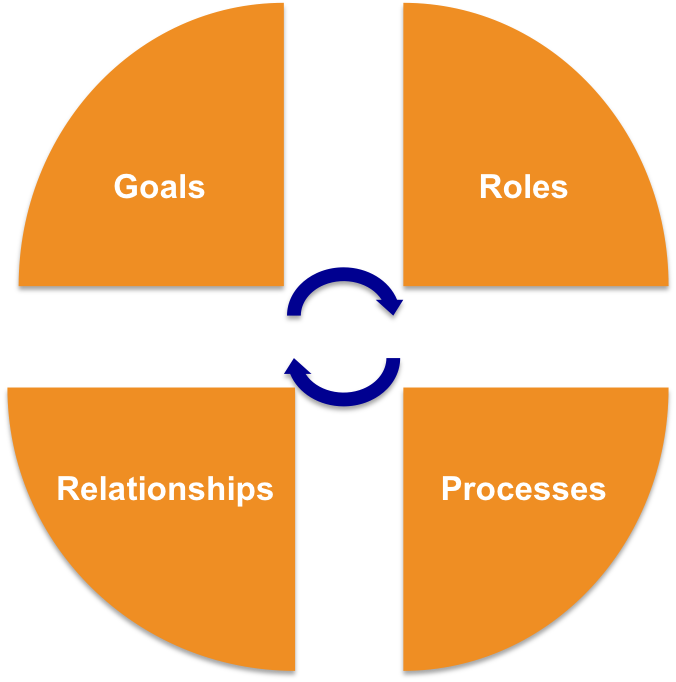 Koliso uses a framework that analyses and improves your goals, roles, processes and relationships.