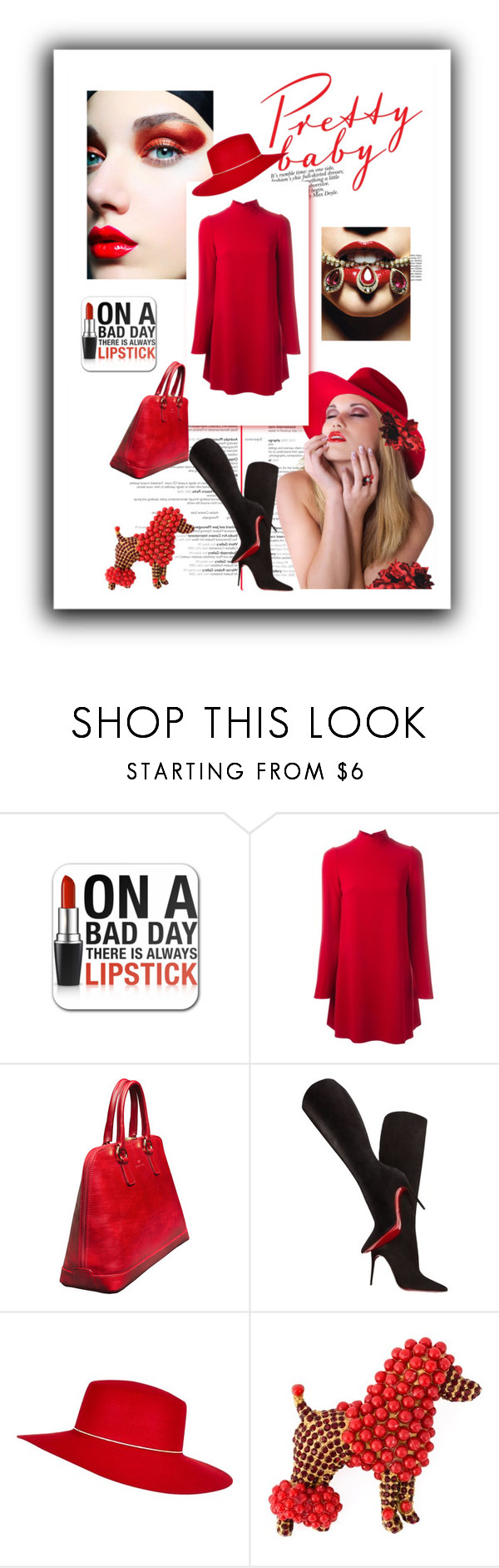 """""""Red Dress"""" by kari-c ❤ liked on Polyvore featuring Dolce&Gabbana, Christian Louboutin and River Island"""