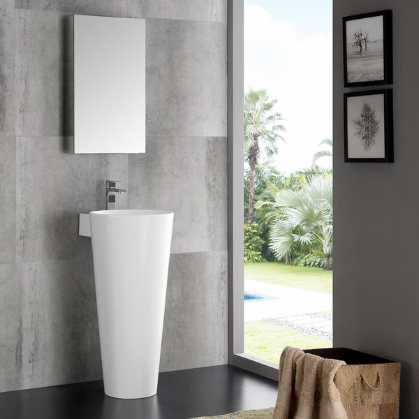 Fresca Messina White 16 Inch Modern Bathroom Vanity With Pedestal Sink And Medicine Cabinet