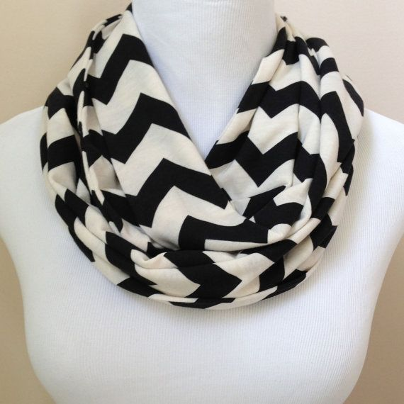 Black Chevron Jersey Infinity Scarf by oneforonecreations on Etsy, $15.00