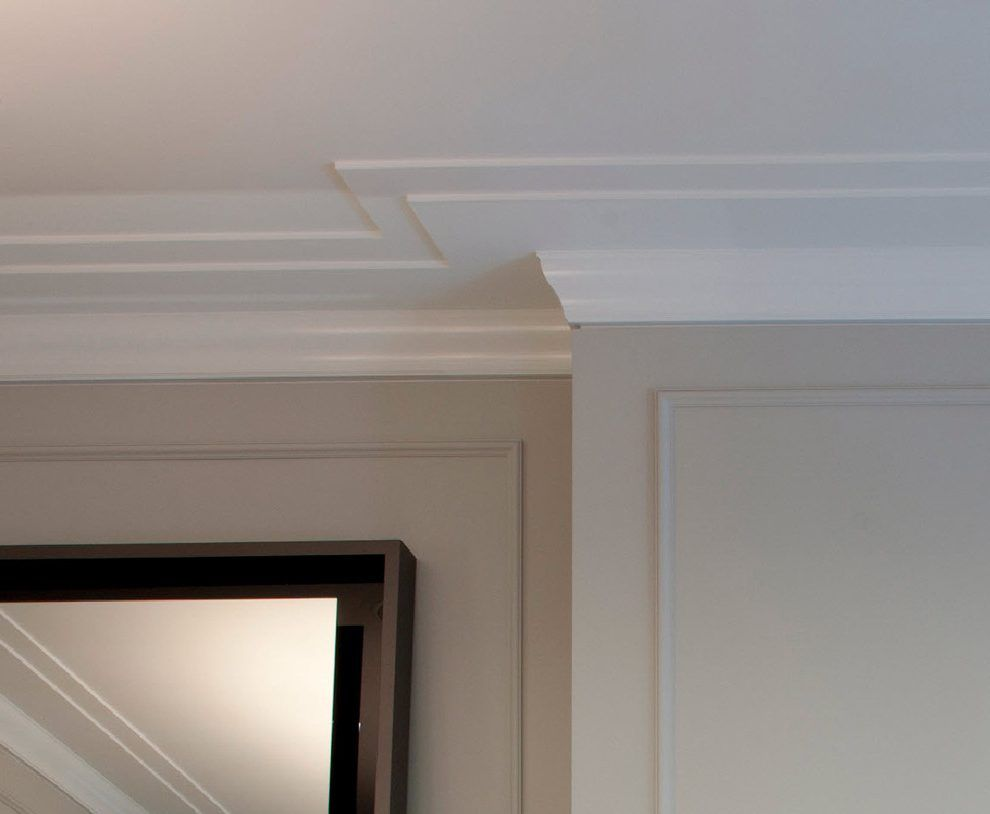 Kitchen ceiling crown molding spaces transitional with dark gray