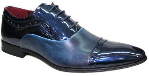 a571f07b44838 Chaussures Hommes - Vernis Bicolore Richelieu Bleu et Bleu Nuit V3 - Taille  42 Blue Raid