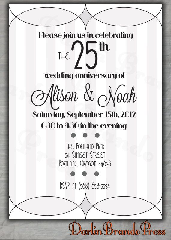 Stripes 25th Wedding Anniversary Invitation Paper Pinterest