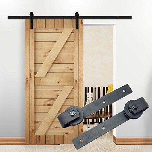 9sparts 6.6 Feet ft 2m Black Country Style Carbon Steel Sliding Barn Door Window Hardware Track Rail Kit for Wood and Concrete Wall