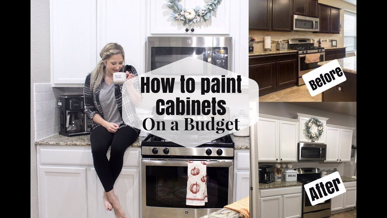 How To Paint Kitchen Cabinets On A Budget Diy Dark To White Cabinets Youtub With Images Kitchen Cabinets On A Budget Diy Kitchen Cabinets Painting Buy Kitchen Cabinets