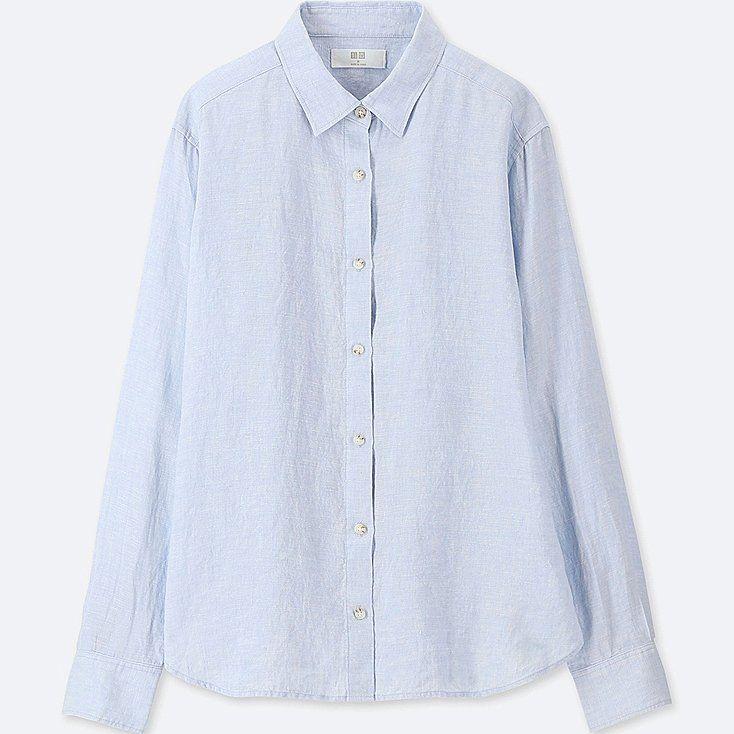 349bd0b5 WOMEN PREMIUM LINEN LONG-SLEEVE SHIRT, BLUE, large | Workwear | Long ...