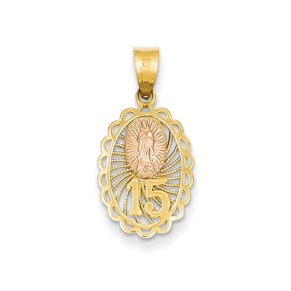 10K Two-Tone Gold Our Lady Of Guadalupe Pendant Charm