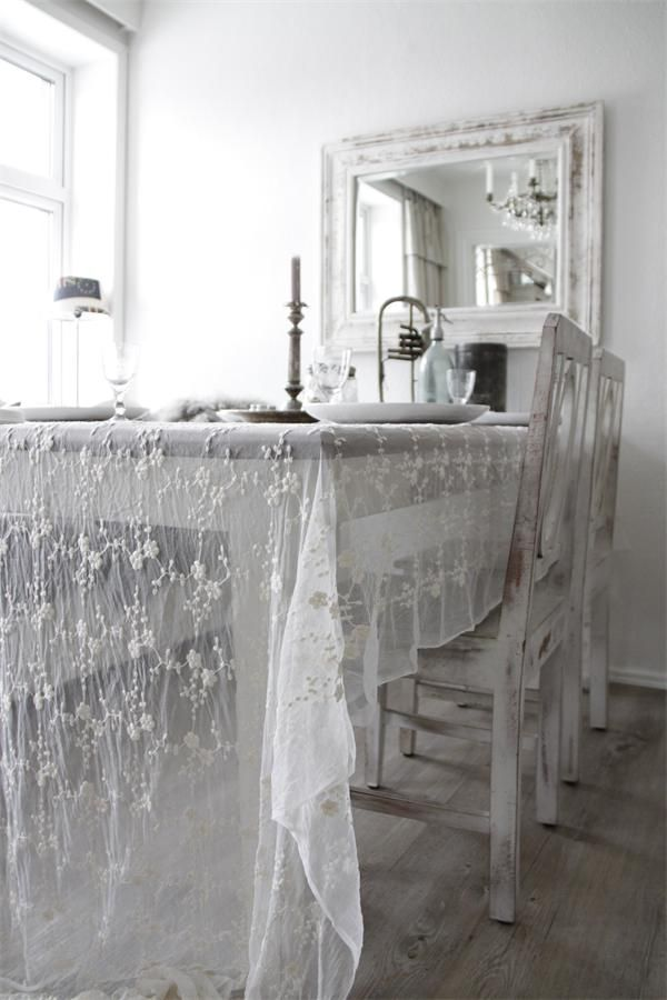 Attractive Sheer Table Cloth Adds Beautiful Whimsy To This Dining Experience