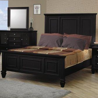 King Size Bed Cape Cod Style In Black Finish