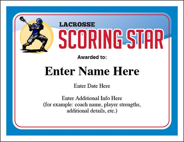 Lacrosse certificate award Use them year after year Perfect for - example of award certificate