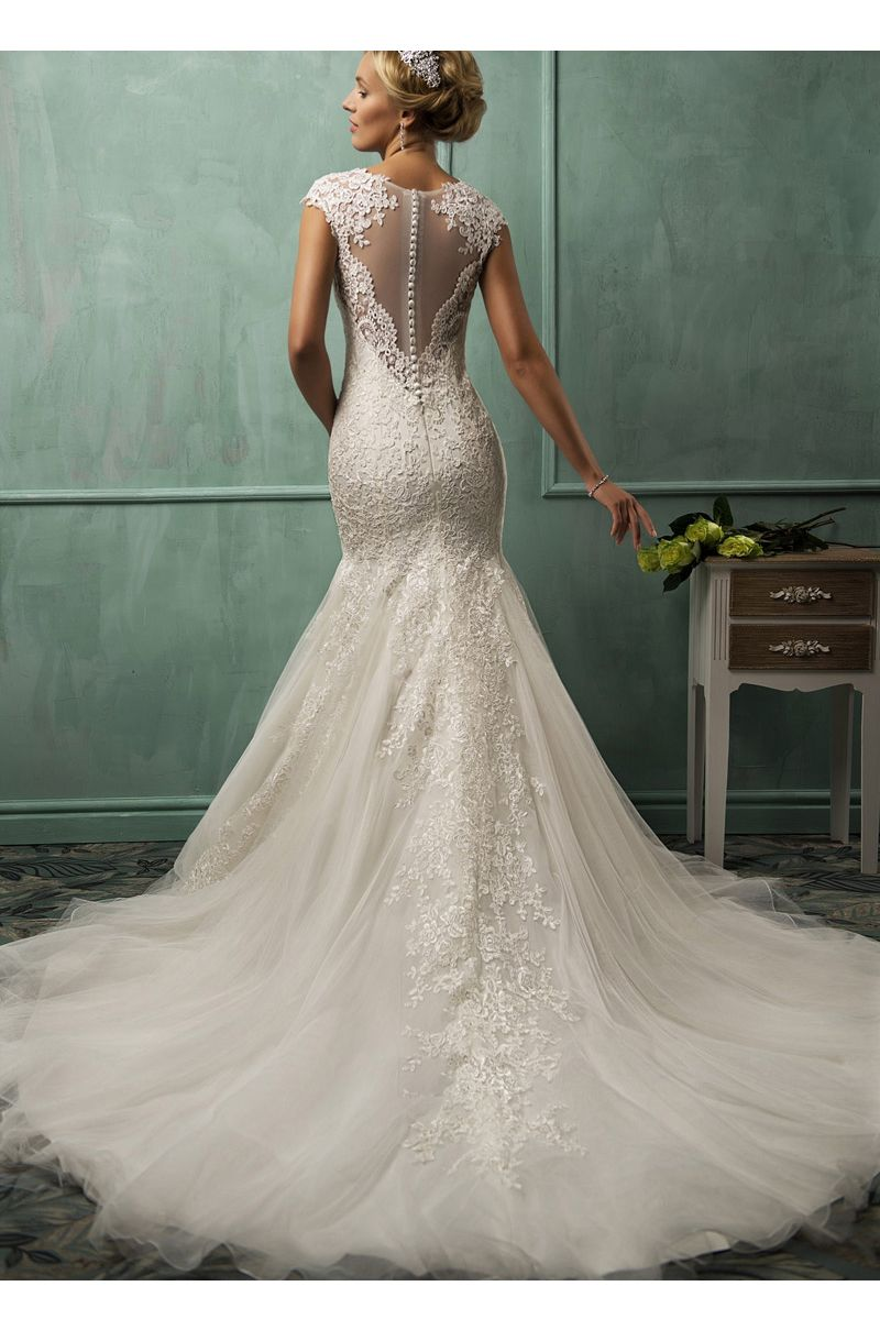Wedding dresses with train  Lace u Tulle Stunning Train Wedding Dress ndress