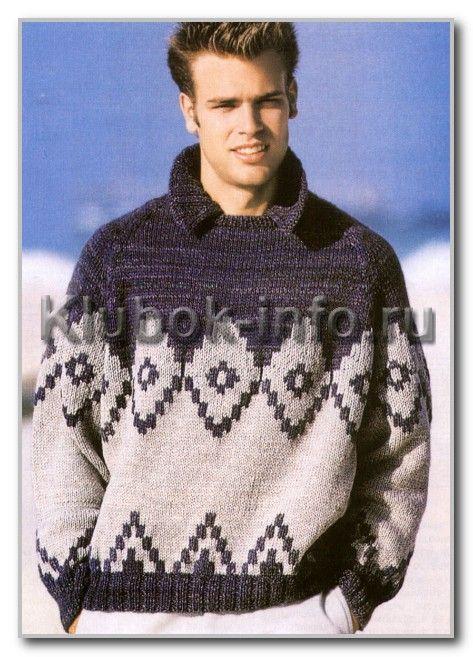 Мужской свитер спицами с норвежским узором схема 51