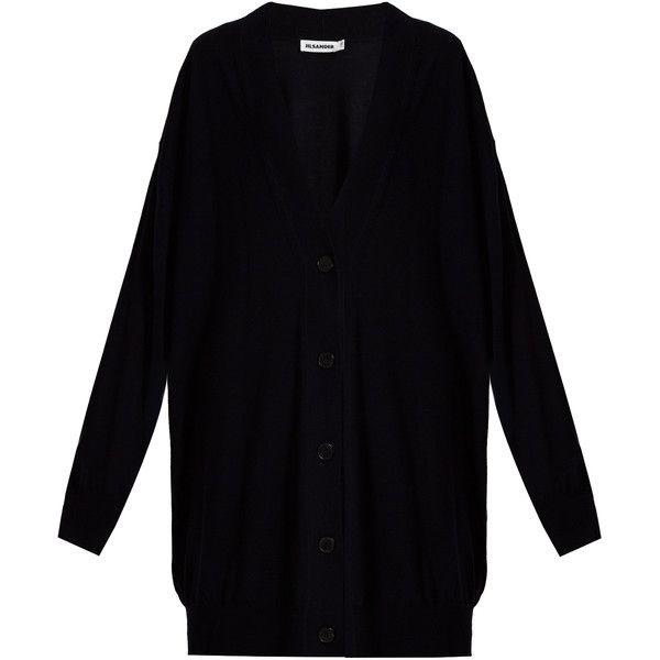 Jil Sander Long-line wool cardigan (€405) ❤ liked on Polyvore ...