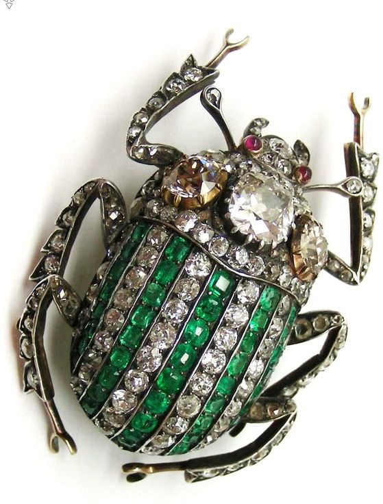 Antique Stag Beetle Brooch - emeralds & diamonds - (bugs, insects, spider sparklies, jewelry)