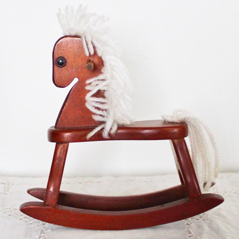 Vintage wooden rocking horse figurine. Nice for Christmas decor or ...