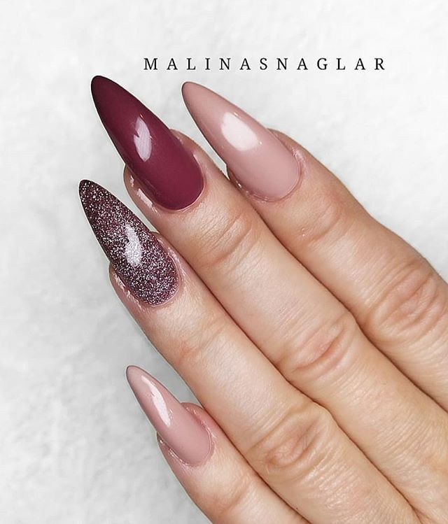 mismatched burgundy glitter and neutral nails