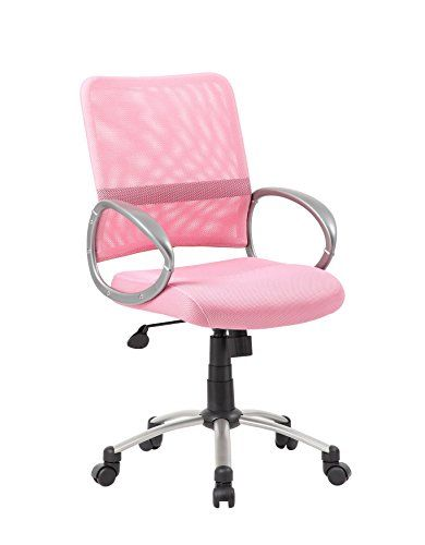 Boss Office Products B6416 Pk Mesh Back Task Chair With Pewter Finish In Pink Stuhle Tisch Und Rosa