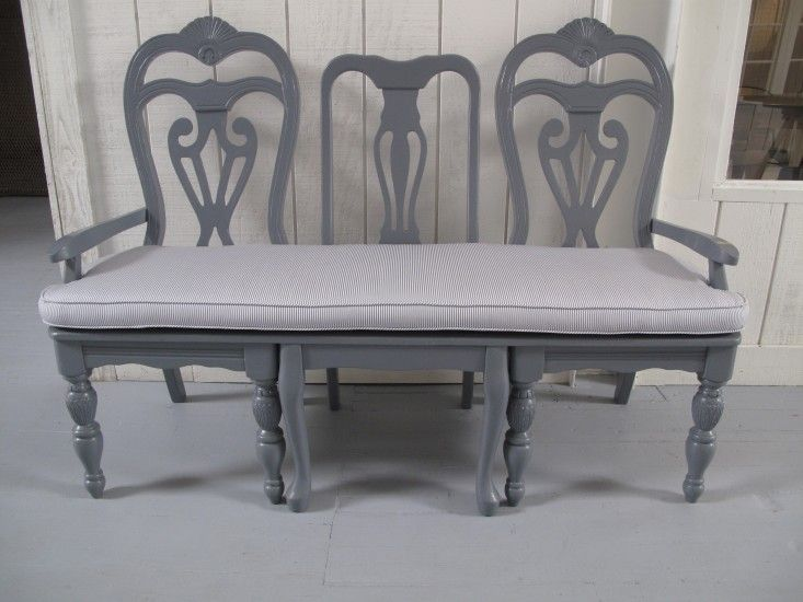 """Frank & Eileen showroom LA by Melody Weir   Remodelista. """"A lovely man in LA, Mr. Lester Anderson, makes benches out of old chairs,"""" Weir says. """"I worked with him and picked the chairs; we put three together, painted them gray, and made seat cushions out of Frank & Eileen shirt fabric."""" The benches can be ordered on request at Melody Weir."""
