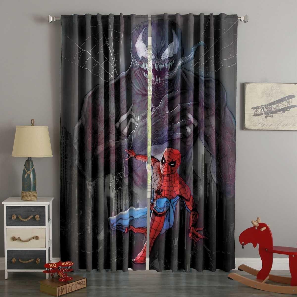 D printed spider man custom living room curtains