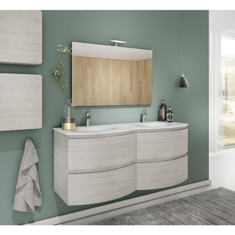 Meuble De Salle De Bain Suspendu 140 Cm Atene En Bois Nordique Avec Lavabo Standard Sv2200 F41 Vanity Bathroom