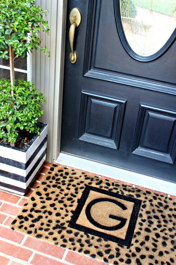 Black And White Modern Decor Diy Door Mat Custom Monogrammed Door Mat Tutorial Cheetah Spots Stencil Front Door Mats Black Front Doors Front Door Makeover