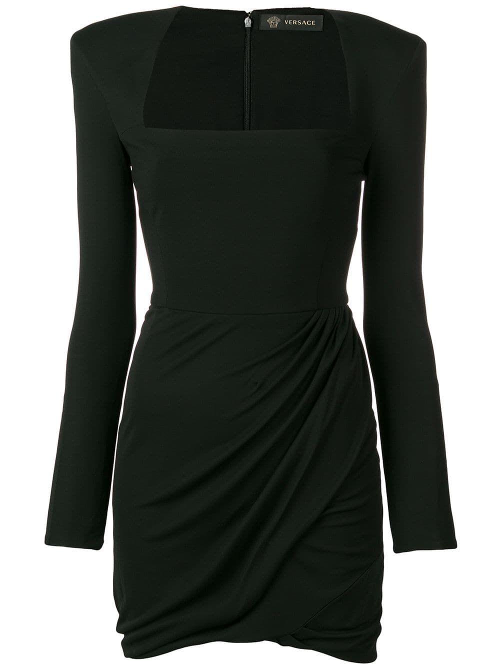 Versace Shoulder Pad Mini Dress Farfetch Black Long Sleeve Mini Dress Shoulder Pad Dress Mini Black Dress [ 1334 x 1000 Pixel ]