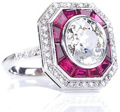 Silks of London Diamond and Ruby Art Deco Engagement Ring in Platinum