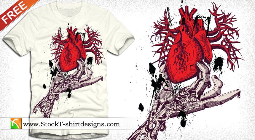 Skeleton Hand Holding Anatomical Red Heart with Free Tee