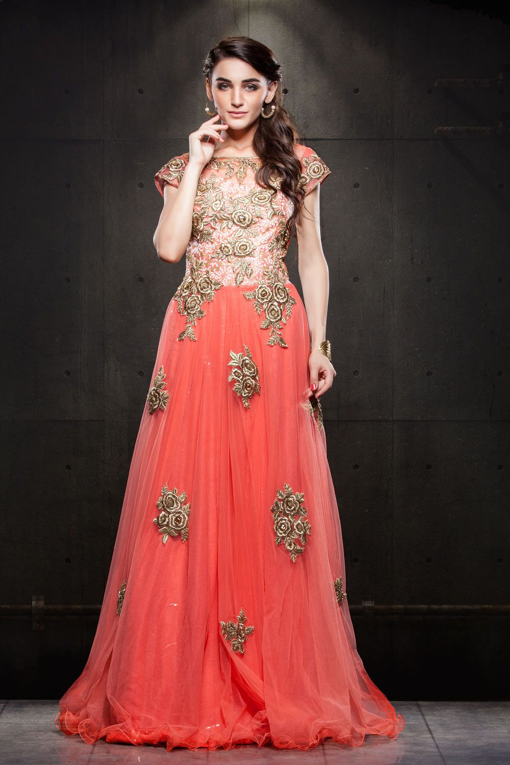 Peach Net Floor Length Gown 63164 Haute Couture Gowns Party