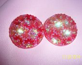 Vintage Mid-Century Retro Floral Iridescent Coated Pink Clip-on Earrings