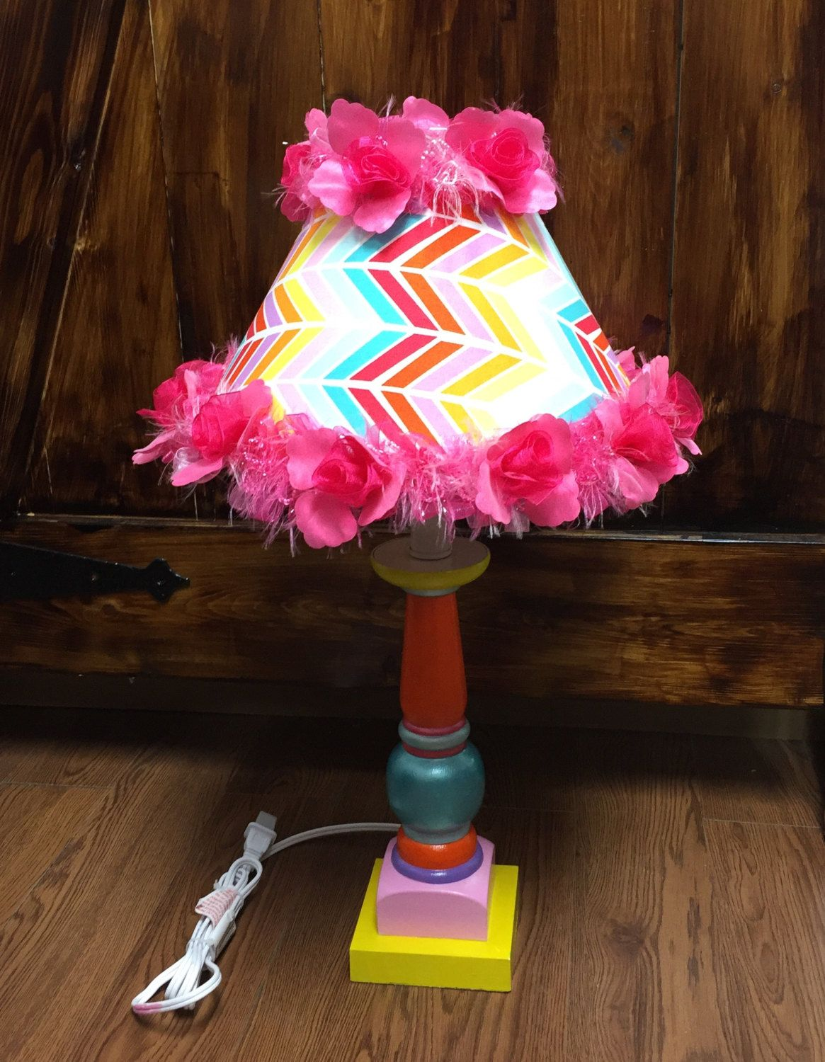 Flamingo colored lamp and fabric lampshade hand painted pink yellow orange blue teal red by HolyChicBoutiqueCo on Etsy