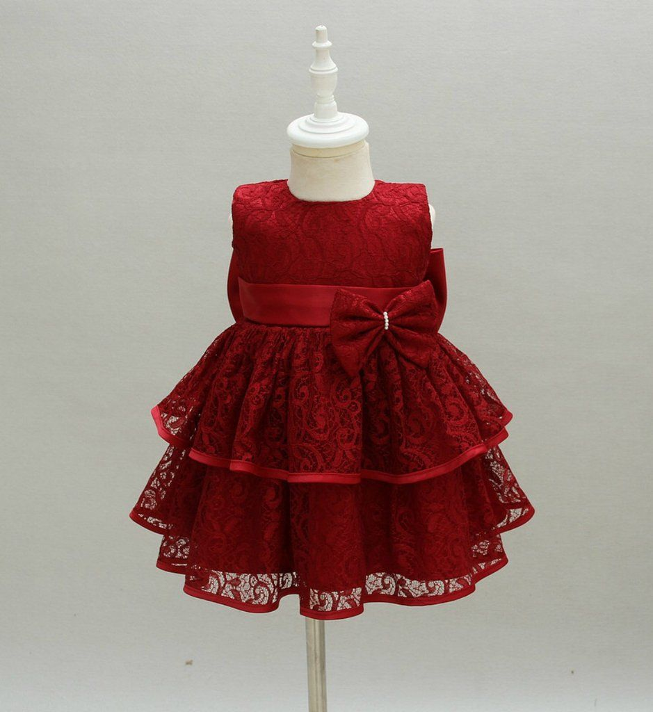 Baby Girl Lace Dress High Quality Red Big Bow Back Sleeveless Knee Length Baby Girl Tiered Lace Girls Lace Dress Girls Long Sleeve Dresses Baby Girl Dresses [ 1024 x 939 Pixel ]