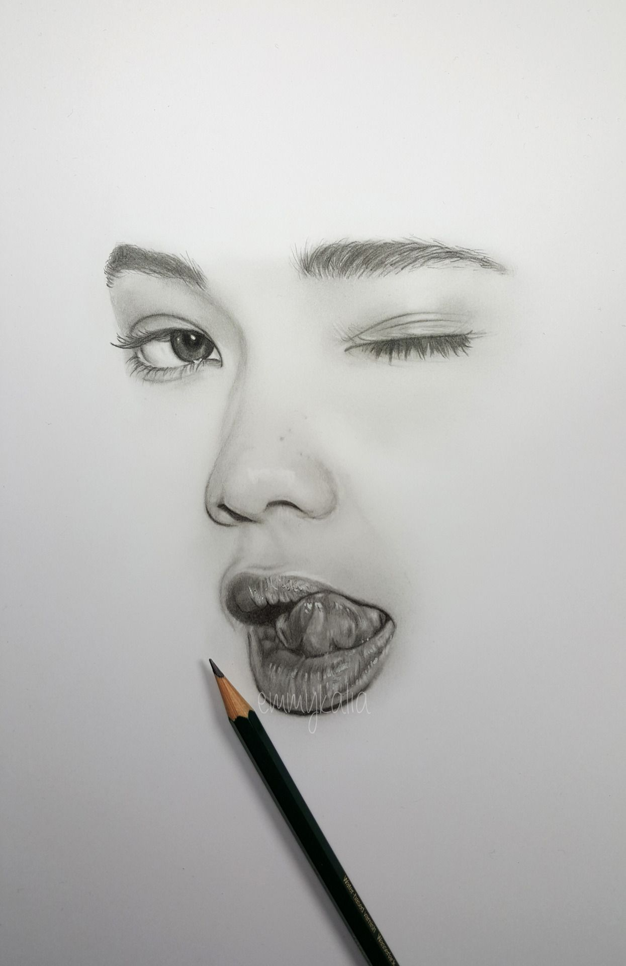 Drawing a minimalistic face ashley moore with faber castell graphite pencils watch the video on my youtube channel emmykalia1