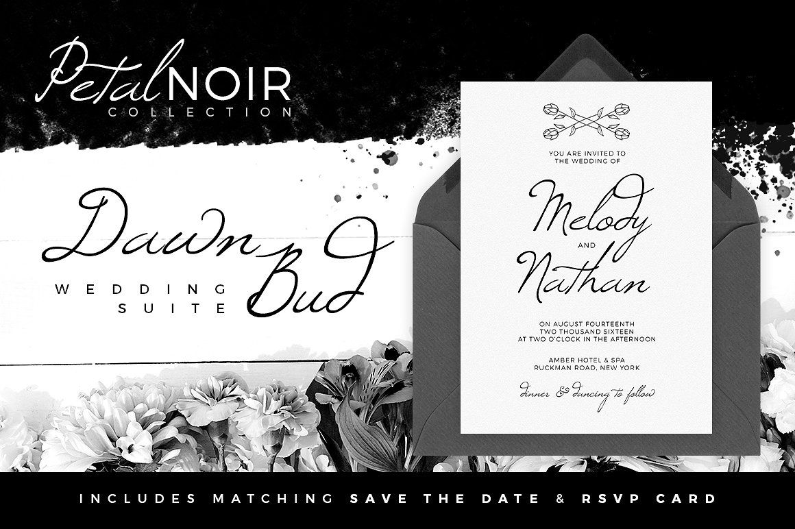 A beautiful hand-drawn floral, strikingly minimalist, wedding collection in simple black & white. This suite contains a stunning wedding invitation, along with matching 'Save The Date' and 'RSVP' card. Petal Noir - Dawn Bud - Invitations