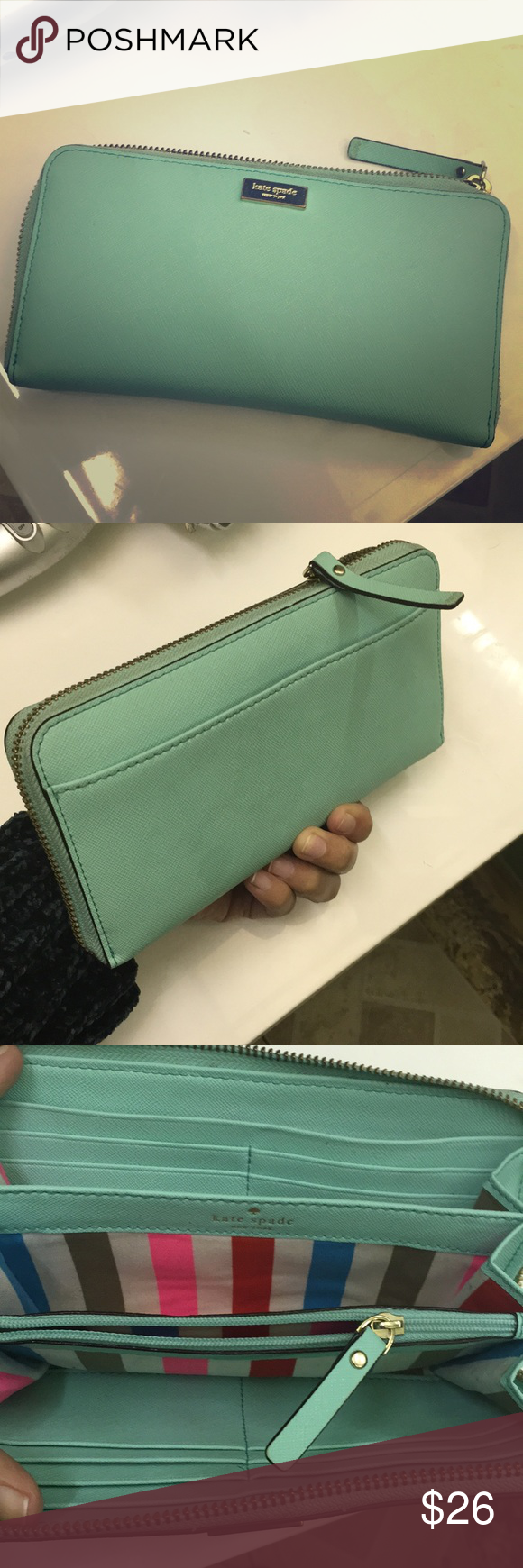 Kate spade turquoise zipped wallet. Kate spade turquoise